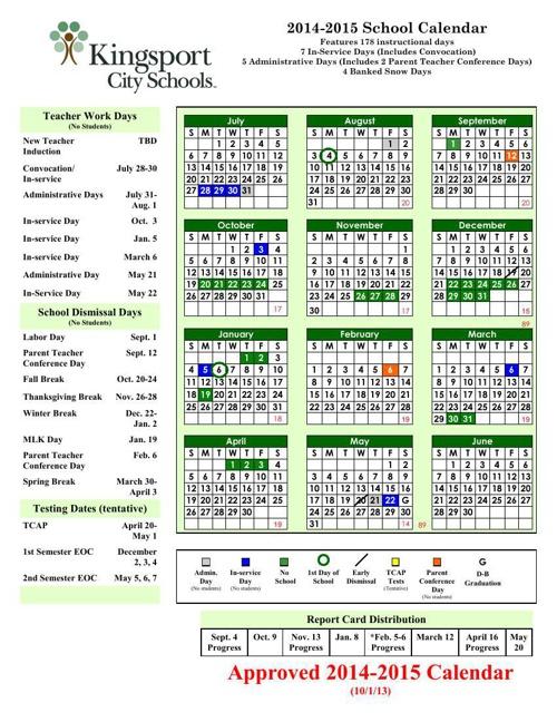 2014-15 Approved KCS Calendar 10-1-13