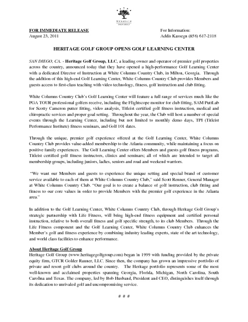 Heritage Golf Group Press Releases