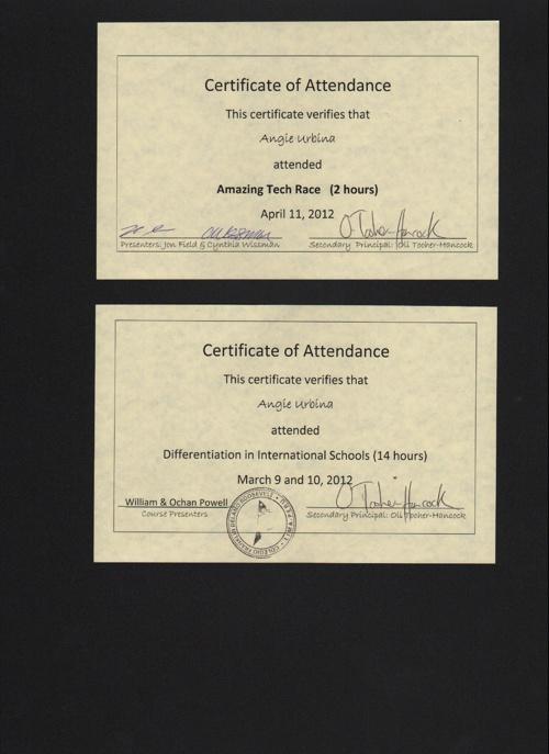 certificates 2012