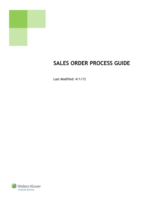 Sales Order Process Guide (Test)