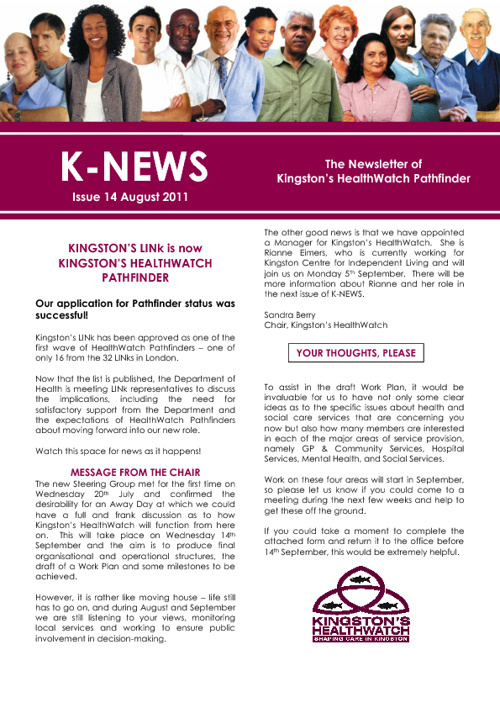 Kingston Healthwatch August Newsletter