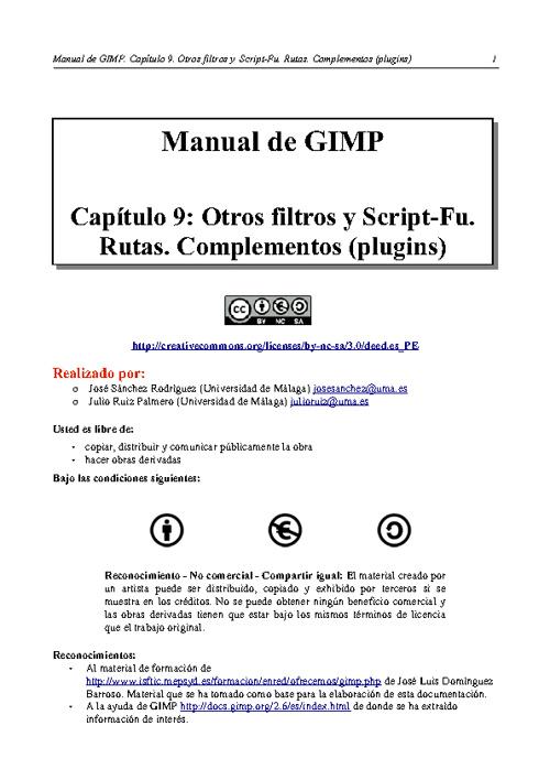 Capítulo 9: Otros filtros Script-Fu. Rutas y complementos