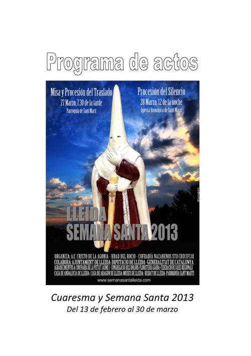 Programa de actos de Cuaresma y Semana Santa