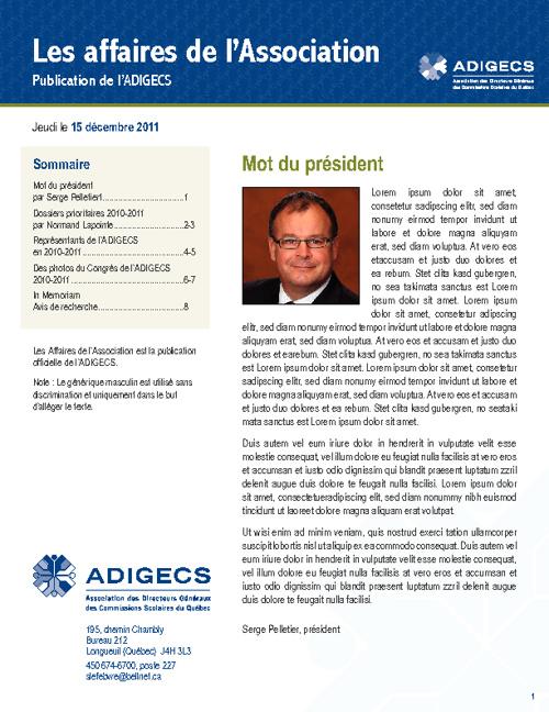 ADIGECS - Infolettre test