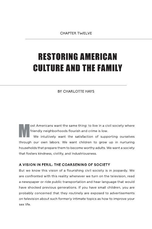Chapter Twelve - Restoring American Culture and the Family
