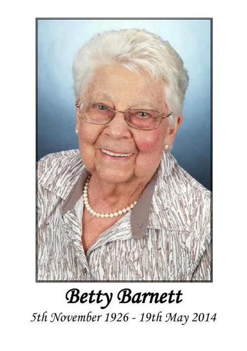 Small Order of Service for Betty Barnett