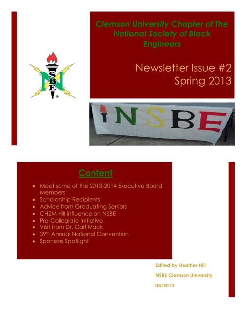 Clemson NSBE  Spring 2013 Newsletter