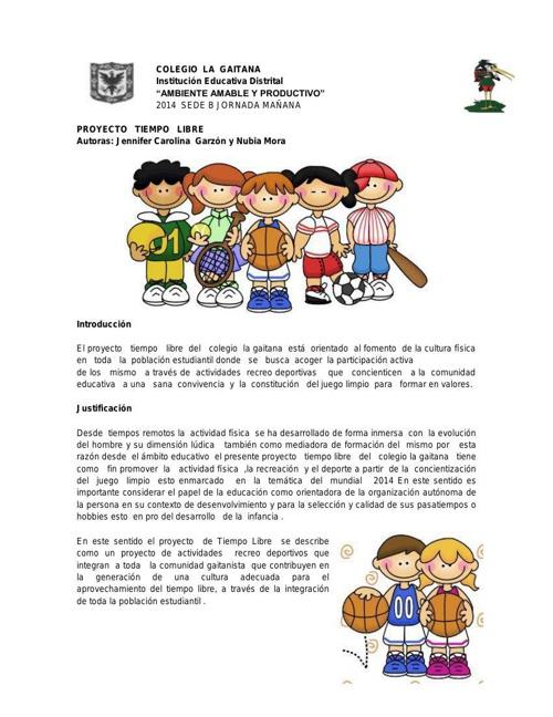 COLEGIO  LA  GAITANA PROYECTO  TIEMPO LIBRE (1)