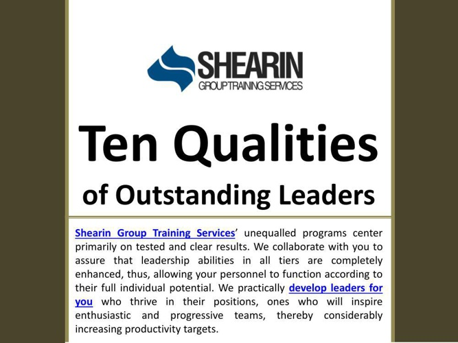 Shearin Group Training Services: Ten Qualities of Outstanding Le