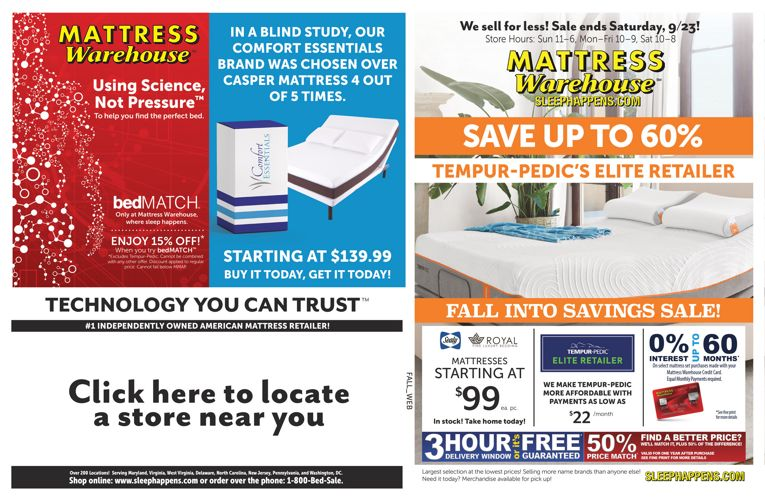 Mattress Warehouse Fall Savings Sale