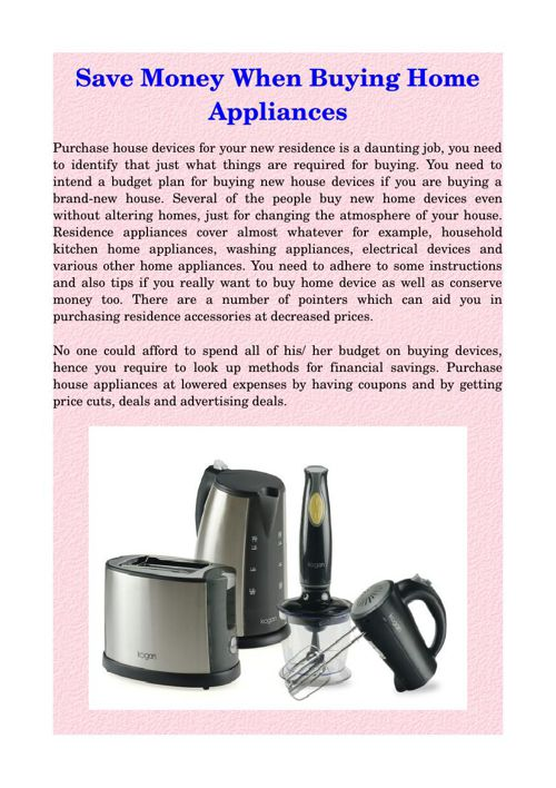 Save Money When Buying Home Appliances