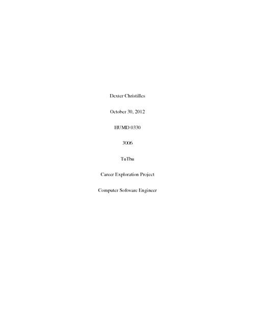 Dexter Christilles Career Exploration Project