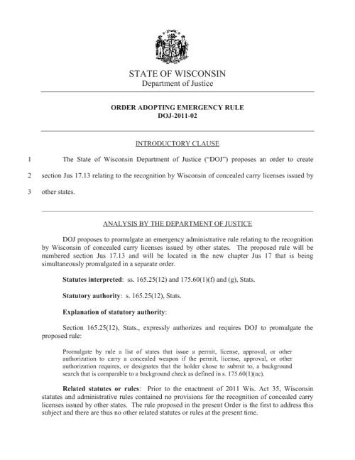 WI DOJ | Order Adopting Emergency Rule DOJ-2011-02