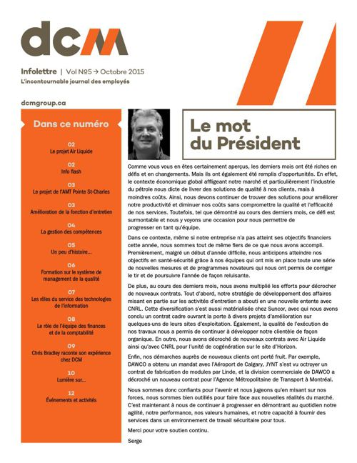 DCM Infolettre Octobre 2015