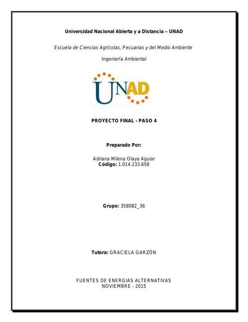 Proyecto Final - Energías Renovables UNAD 2015