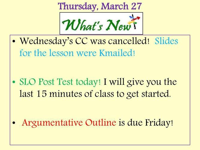 Thurs Lesson 4 Argument Outline Examples