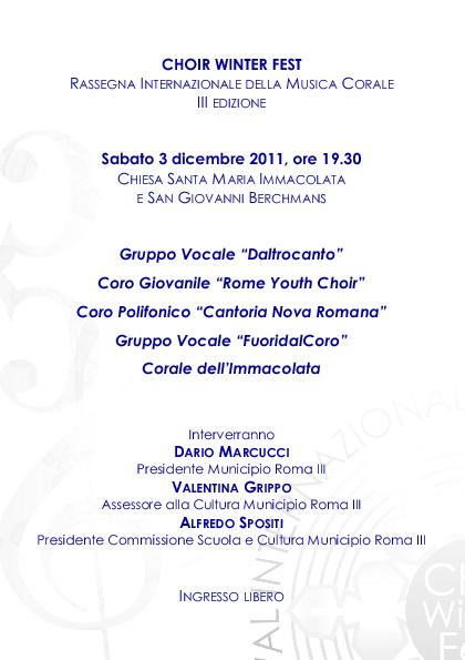 PROGRAMMA DI SALA 3 DICEMBRE: Inaugurazione Choir Winter Fest