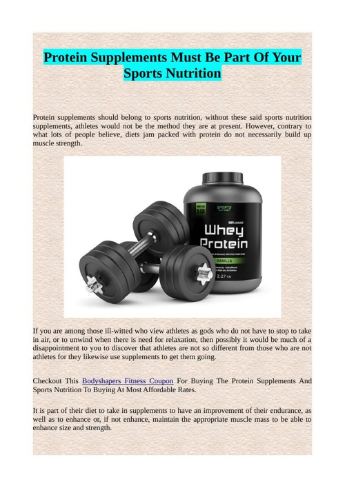 Protein Supplements Must Be Part Of Your Sports Nutrition