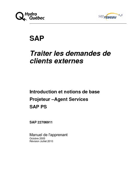 AS - SAP Traiter les demandes de clients externes