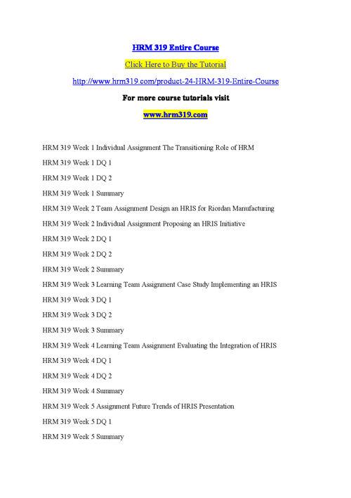HRM 319 Entire Course
