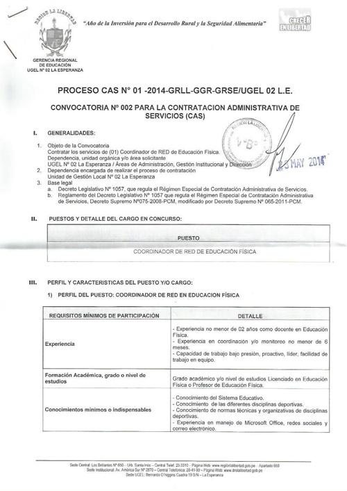 Conv. Coordinador de Red en Ed. Fïsica - UGEL 2