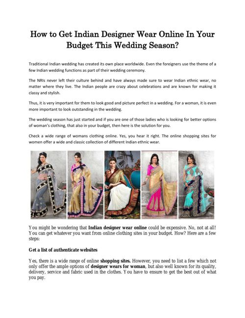 How to Get Indian Designer Wear Online In Your Budget This Weddi
