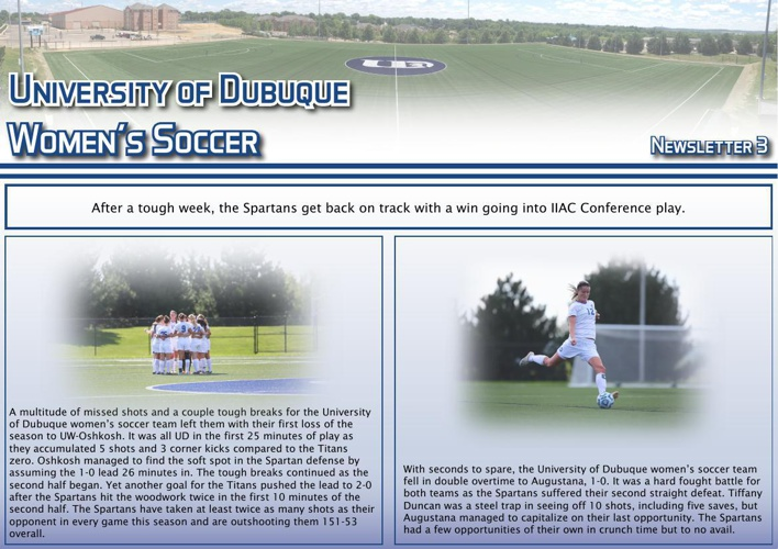 University of Dubuque Women's Soccer 2014 Newsletter: Issue 3