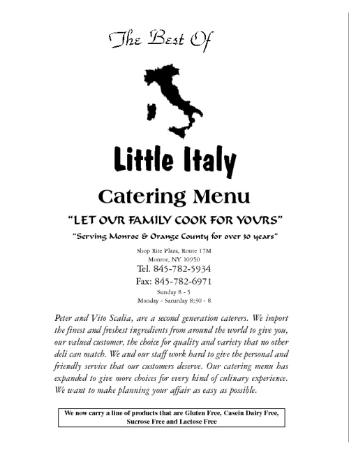 Best Of Little Italy Catering Menu