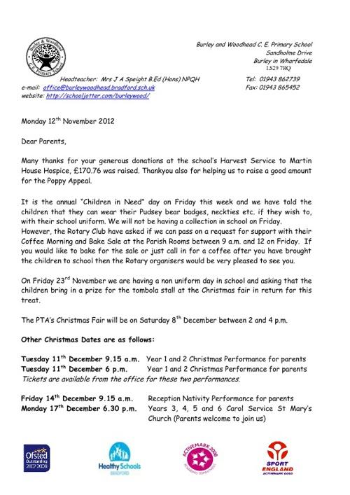 Parent Newsletter November 2012