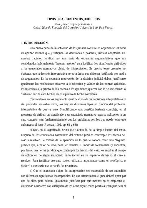 TIPOS DE ARGUMENTOS JURÍDICOS 7a. semana.