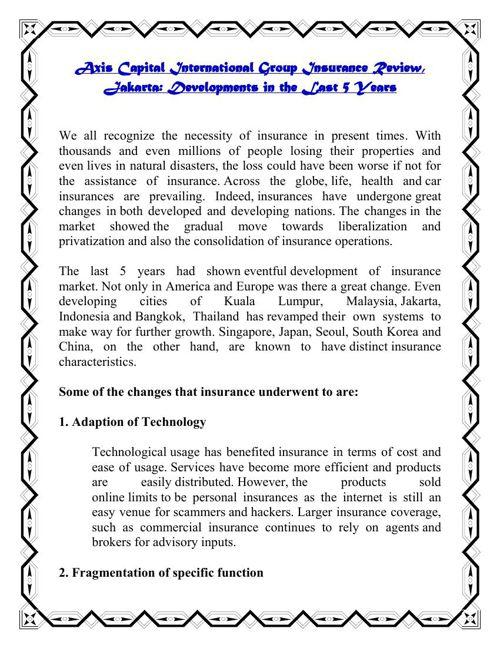 Axis Capital International Group Insurance Review, Jakarta: Deve