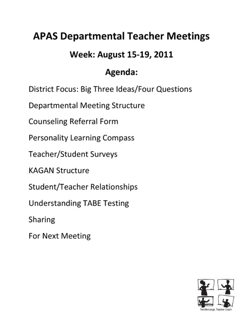 Departmental Meeting Week of August 15-19, 2011