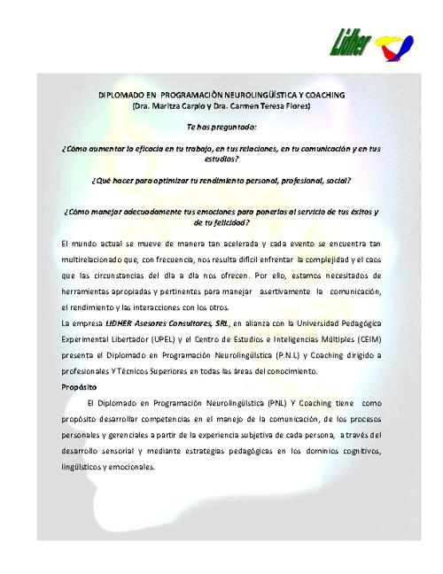 DIPLOMADO EN  PROGRAMACIÒN NEUROLINGÜÍSTICA Y COACHINg
