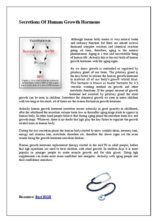 Secretions Of Human Growth Hormone