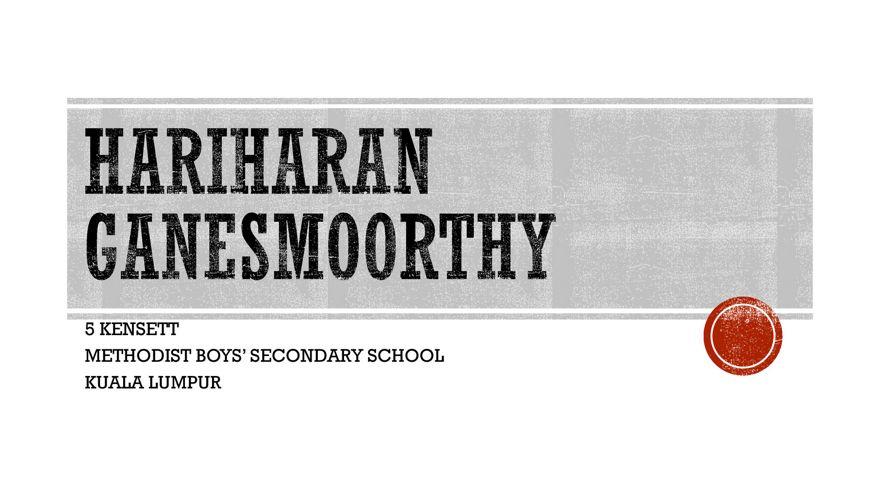 Hariharan Ganesmoorthy- A brief biodata.