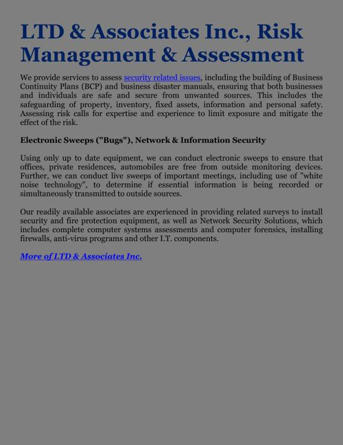LTD & Associates Inc., Risk Management & Assessment