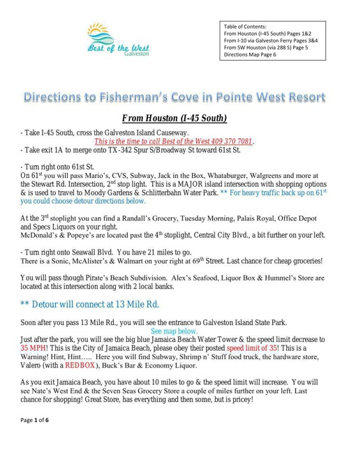 Directions to Fisherman's Cove