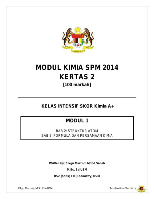 Modul 1 Kimia SPM 2014