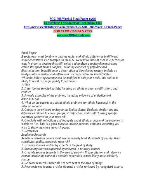 SOC 308 Week 5 Final Paper (Ash)