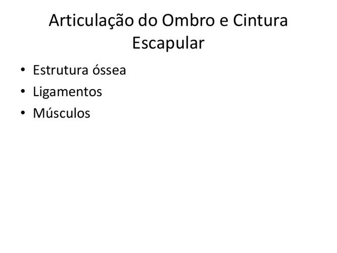 AULA ARTICULAÇÃO DO OMBRO E CINTURA ESCAPULAR
