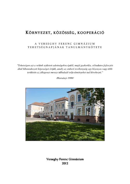 Tehetségnap kötet Verseghy Ferenc Gimnázium 2012