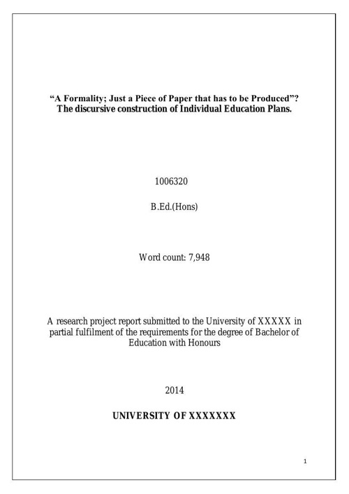 Dissertation: Exemplar 6 Individual Educational Plans