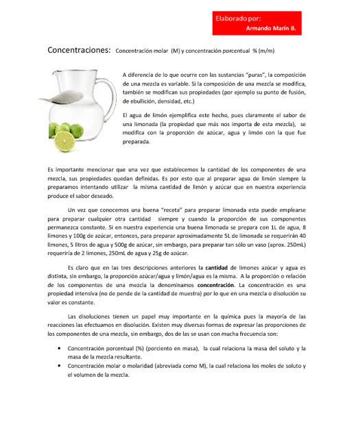 CONCENTRACIÓN DE DISOLUCIONES