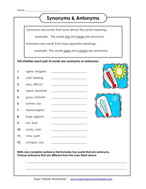Synonyms & Antonyms worksheets