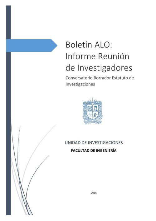 Boletín 1. Informe reunión de investigadores