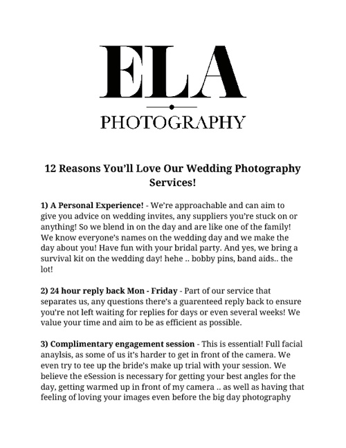 12 Reasons You'll Love Our Wedding Photography Services