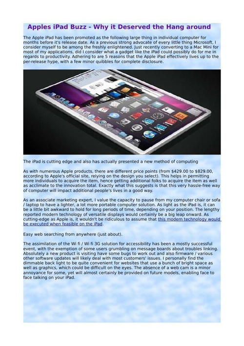 Apples iPad Buzz - Why it Deserved the Hang around