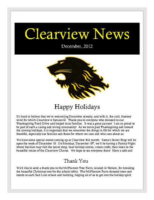 Clearview Newsletter, December 2012