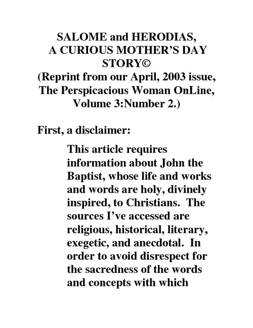 Salome and Herodias, A Curious Mother's Day Story