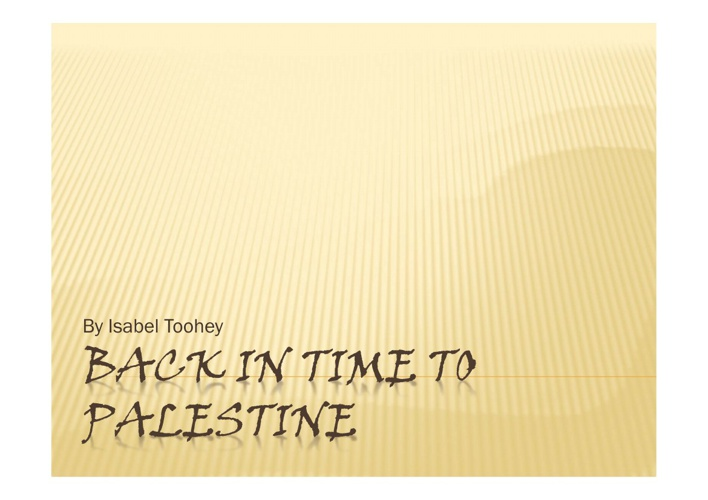 Back To Palestine- Religion Assignment